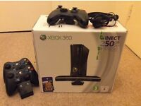 XBOX 360 250gb, With Kinect, 3 Official Controllers