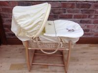 Mamas & Papas lemon Zeddy & Parsnip Moses basket & stand with nursery bedding & accessories
