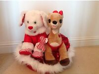 Build a Bear Reindeer & Dog with outfits & basket