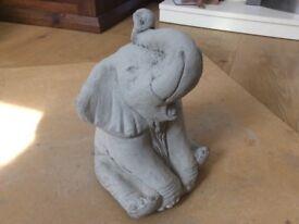 Concrete garden baby elephant ornament