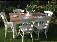 Solid chunky farmhouse pine table and six fiddle back chairs painted in Laura Ashley