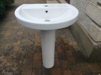 Used White Handbasin & Pedestal