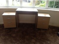 Office Desk & 2 x Drawer/Filing Units