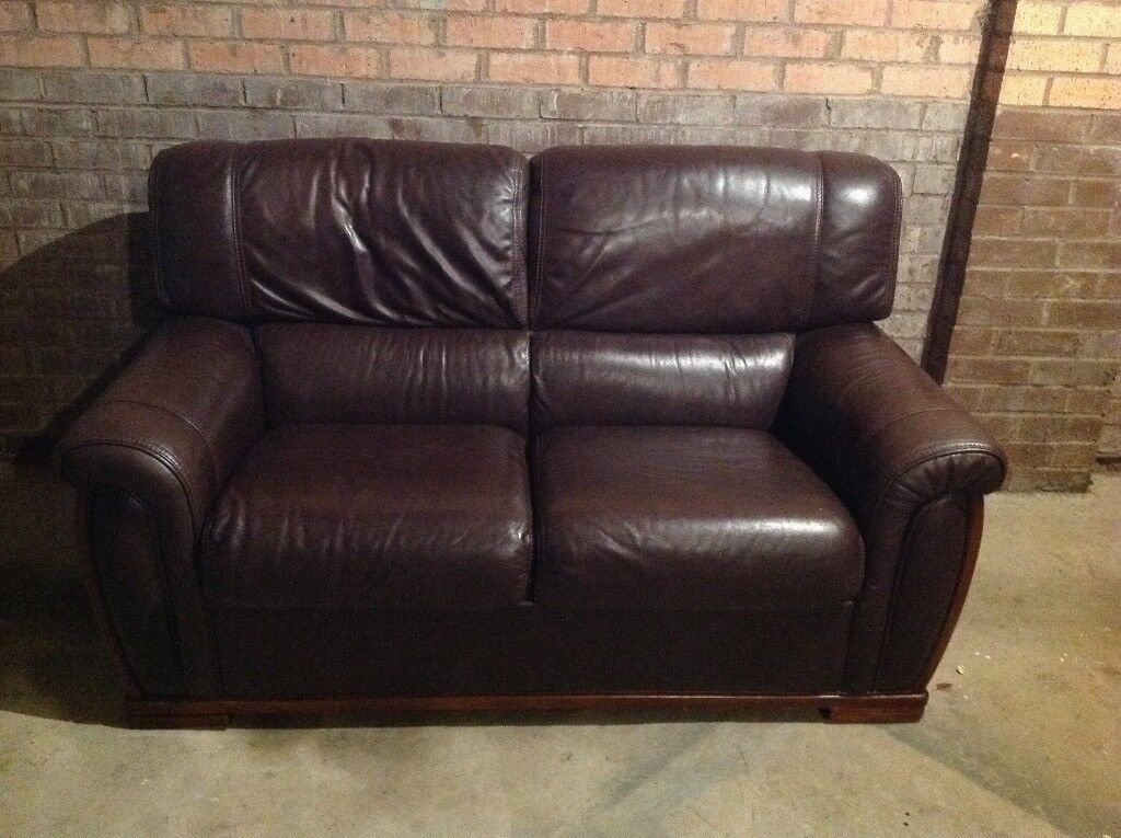 3-seater & 2-seater Brown Leather Sofas + leather Stool