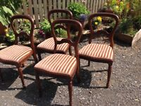 Dining table extendable mahogany four chairs suite