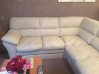 Cream Leather Corner Sofa 6 months old. NOW SOLD