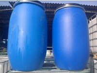 Clean 220 litre plastic water butt drum barrel with lid and clamp