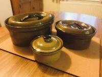 Vintage T G Green Church Gresley Set of 3 Casserole Dishes 1980's