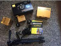 Nikon D3300 DSLR camera, lenses: 18-55, 55-200mm, as new!