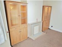 Dining Room Complete Matching Set- Glass Cabinets x 2 & Matching Sideboard - Beech Finish - EDGWARE