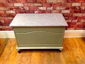 HANDMADE WOODEN STORAGE CHEST WITH COVERED SEAT - CAN DELIVER
