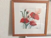Beautiful framed print of poppies