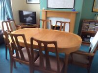 Nathan teak dining table and 6 chairs excellent condition.