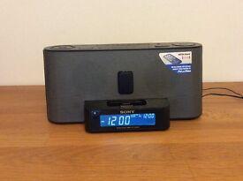 Sony clock radio with iPhone, iPod dock
