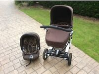 Mamas and Papa's 2in1 Skate Pram/Pushchair, matching car seat/isofix base.Great Condition.Easy 2 use