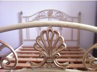 Vintage French Shabby Chic Metal Double Bed with Wooden Slats