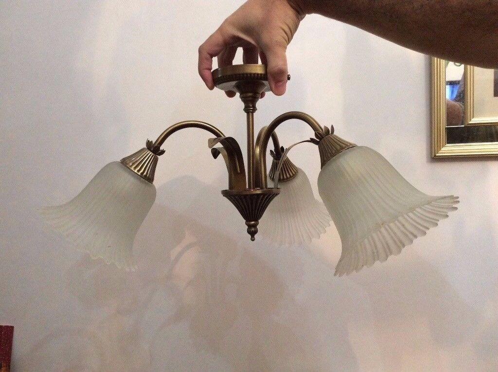 ceiling light with glass shades - victorian style - £10 ono