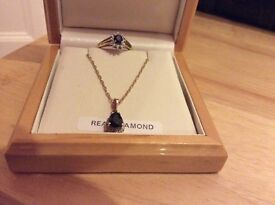 Real sapphire ring and necklace for sale
