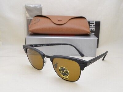Ray Ban CLUBMASTER (RB3016-W3389 49) Matte Black with Brown Lens