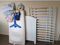 White cot with mattress and duvet, Lindam door swing and Mothercare musical mobile