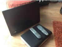 22in TV with built in freeview with remote control and sky plus HD box also with remote control!
