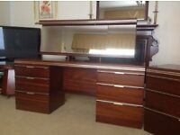 Mahogany dressing table and drawer unit