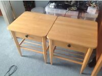 Two beech bedside tables