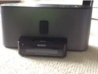 Sony Speakers with IPod/iPhone 4 dock plus alarm clock and radio