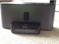 Sony Speakers with IPod/iPhone 4 dock plus alarm clock and radio