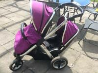 Oyster max double/tandem pram in grape