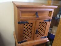 Pine cabinet with lattice doors