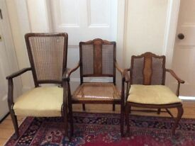 3 Antique Bergere Chairs