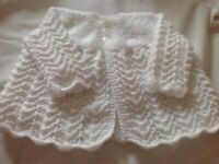 NEW, Hand knitted white wool fancy baby cardigan, 3-6months