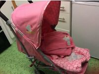 Tiny Tatty Teddy Deluxe Stroller Bundle in Pink