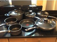 6 assorted Tefal pans and one stew pan