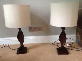 2 table lamps. Wood effect ceramic with shades