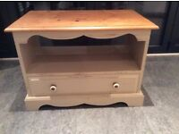 Wooden, Shabby Chic Farrow & Ball Painted Cream TV Unit with Shelf & Drawer