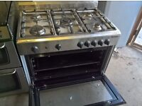 Silver Range cooker gas oven 90cm....Mint free delivery