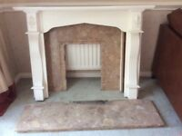 Classical style white mantel and marble fire surround and hearth