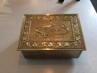 Rare Antique Victorian Arts and Crafts Fireside Slipper Warmer Box in Brass and wood.
