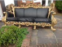 French Italian rococo style handmade solid wood leather 6 seater sofa