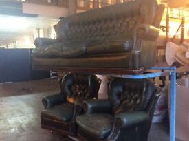 Antique green leather high back chesterfield