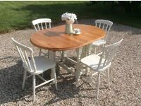 Shabby Chic Pine Gateleg dining table with 4 dining chairs in Farrow and Ball