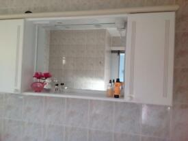 Bathroom Vanity Mirror with light and side cupboards