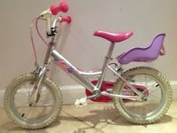 Children's Bicycle, silver with pink floral motif