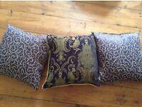 3 X Navy Blue & Gold Cushions