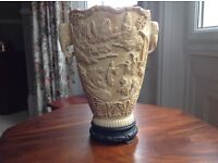 INTRICATELY CARVED CHINESE COMPOSITE IVORY VASE