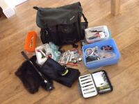 Odyssey trout bag, Airflo fly reel, Caperlan folding net plus various items.