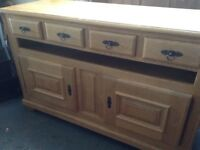 Solid French oak rustic sideboard.