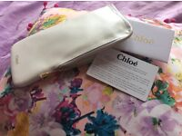 Auth Chloe nappa pouch/purse in white brand new with auth cards